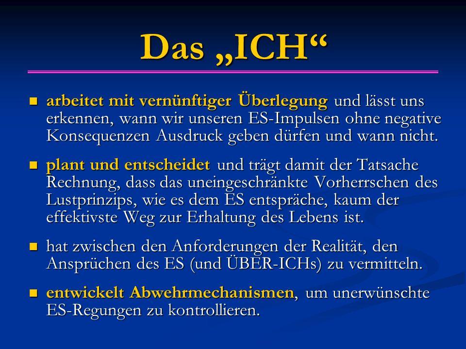 """Das """"ICH arbeitet mit vernünftiger Überlegung und lässt uns erkennen, wann wir unseren ES-Impulsen ohne negative Konsequenzen Ausdruck geben dürfen und wann nicht."""