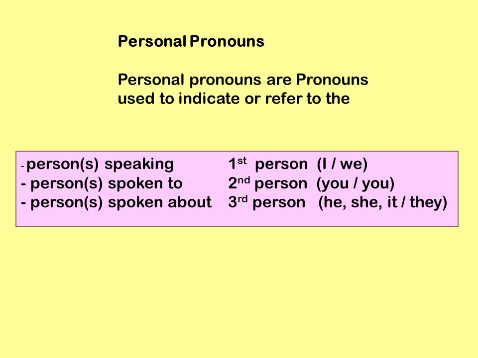 Personal Pronouns Personal pronouns are Pronouns used to indicate or refer to the - person(s) speaking 1 st person (I / we) - person(s) spoken to 2 nd