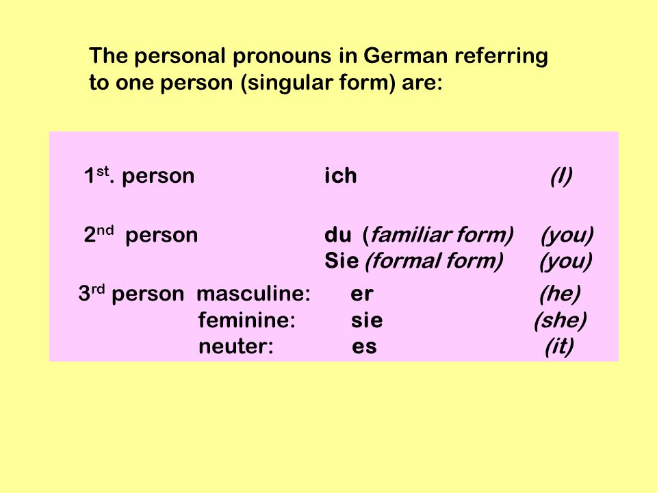 The personal pronouns in German referring to one person (singular form) are: 1 st. person ich (I) 2 nd person du (familiar form) (you) Sie (formal for
