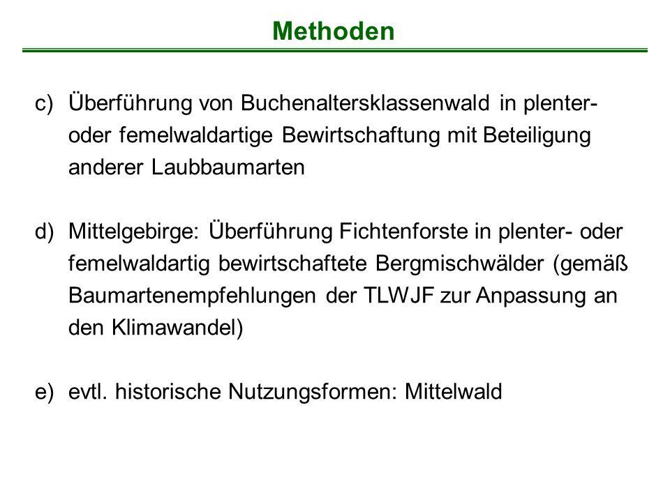Methoden c)Überführung von Buchenaltersklassenwald in plenter- oder femelwaldartige Bewirtschaftung mit Beteiligung anderer Laubbaumarten d)Mittelgebi