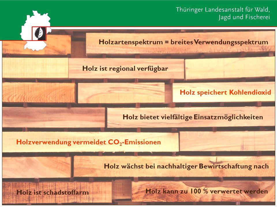 Holz bietet vielfältige Einsatzmöglichkeiten Holz kann zu 100 % verwertet werden Holz ist regional verfügbar Holz ist schadstoffarm Holz wächst bei na
