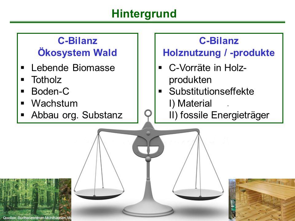 Quellen: Buchenzentrum Mühlhausen; Mund C-Bilanz Holznutzung / -produkte  C-Vorräte in Holz- produkten  Substitutionseffekte I) Material II) fossile
