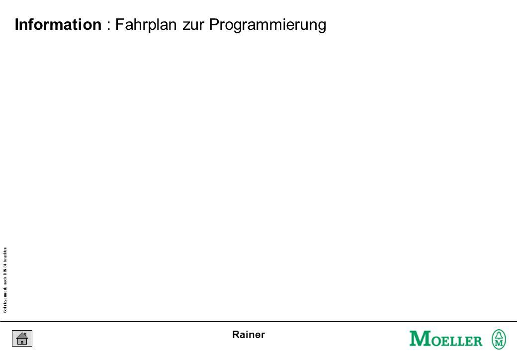 Schutzvermerk nach DIN 34 beachten 03/03/16 Seite 6 Rainer Information : Fahrplan zur Programmierung