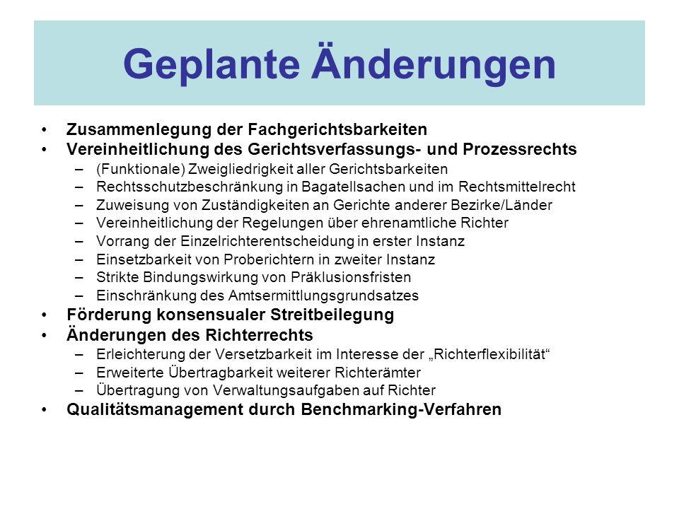 Zusammenlegung der Fachgerichtsbarkeiten Verfassungsrechtliche Grundlagen der Fachgerichtsbarkeiten –Art.