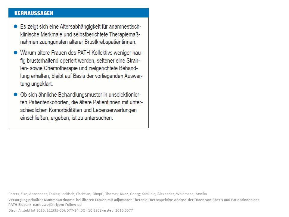 Peters, Elke; Anzeneder, Tobias; Jackisch, Christian; Dimpfl, Thomas; Kunz, Georg; Katalinic, Alexander; Waldmann, Annika Versorgung primärer Mammakarzinome bei älteren Frauen mit adjuvanter Therapie: Retrospektive Analyse der Daten von über 3 000 Patientinnen der PATH-Biobank nach zweijährigem Follow-up Dtsch Arztebl Int 2015; 112(35-36): 577-84; DOI: 10.3238/arztebl.2015.0577