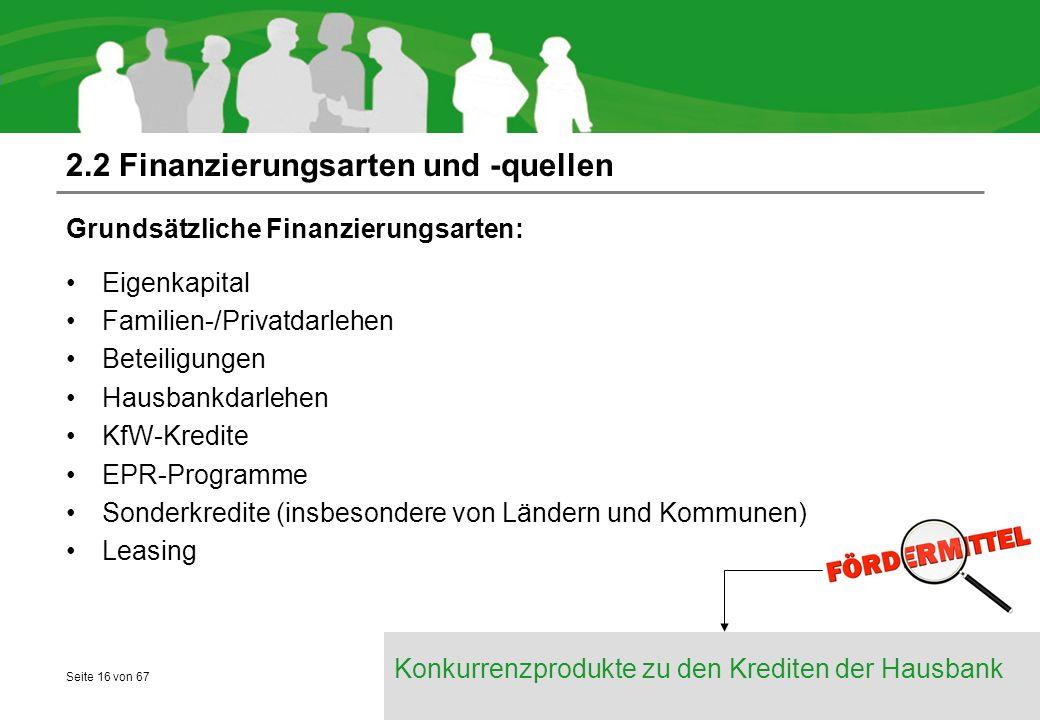Seite 16 von 67 2.2 Finanzierungsarten und -quellen Grundsätzliche Finanzierungsarten: Eigenkapital Familien-/Privatdarlehen Beteiligungen Hausbankdarlehen KfW-Kredite EPR-Programme Sonderkredite (insbesondere von Ländern und Kommunen) Leasing Konkurrenzprodukte zu den Krediten der Hausbank