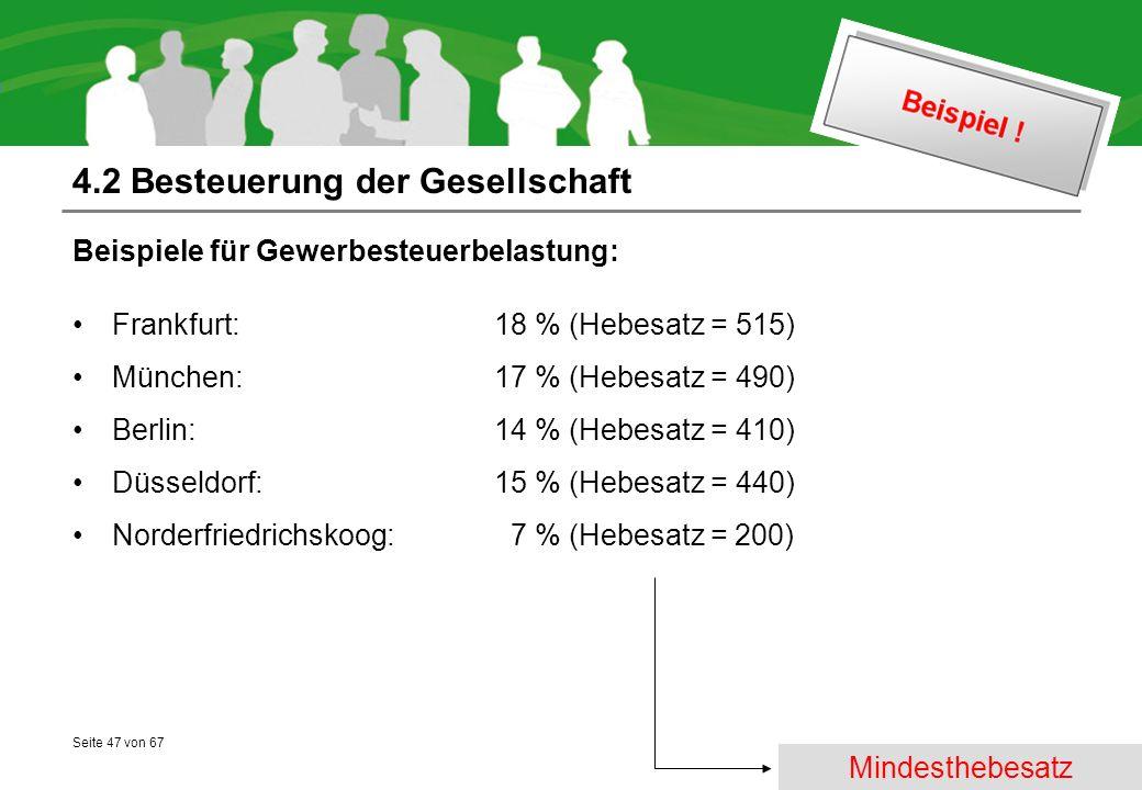Seite 47 von 67 4.2 Besteuerung der Gesellschaft Beispiele für Gewerbesteuerbelastung: Frankfurt: 18 % (Hebesatz = 515) München: 17 % (Hebesatz = 490) Berlin: 14 % (Hebesatz = 410) Düsseldorf: 15 % (Hebesatz = 440) Norderfriedrichskoog: 7 % (Hebesatz = 200) Mindesthebesatz