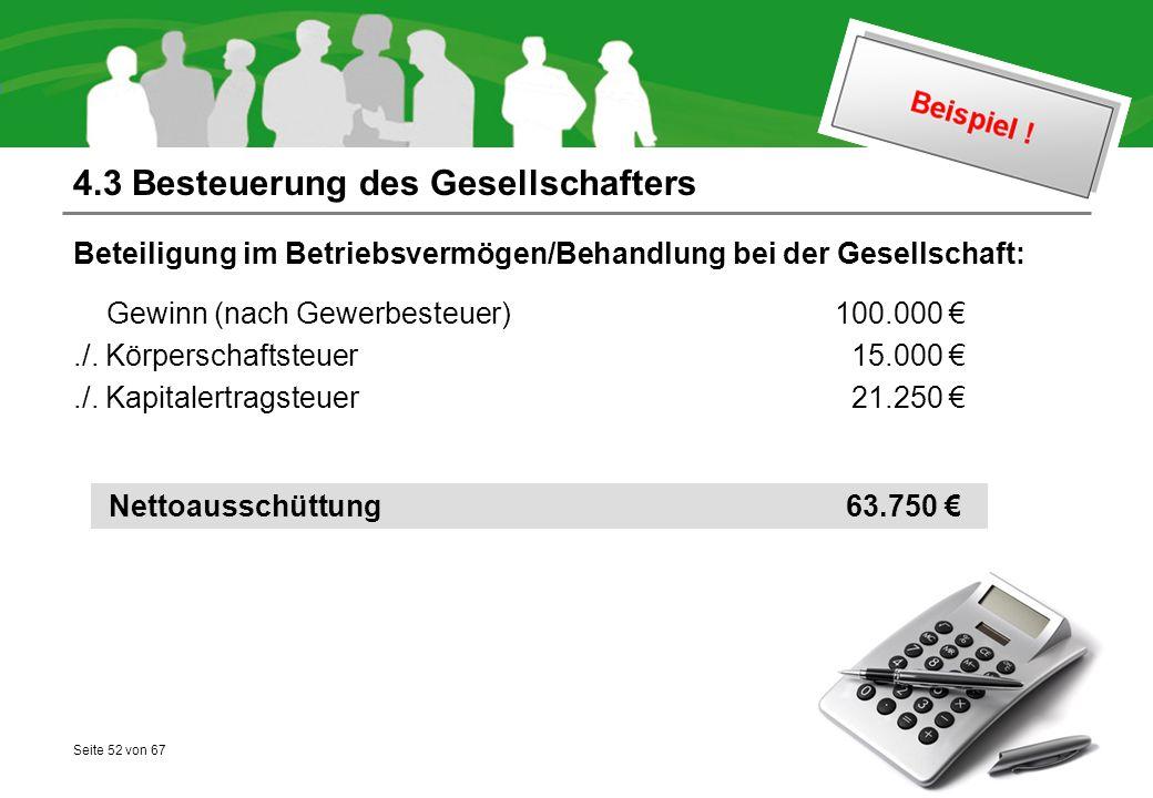Seite 52 von 67 4.3 Besteuerung des Gesellschafters Beteiligung im Betriebsvermögen/Behandlung bei der Gesellschaft: Gewinn (nach Gewerbesteuer) 100.000 €./.