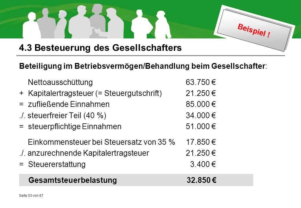 Seite 53 von 67 4.3 Besteuerung des Gesellschafters Beteiligung im Betriebsvermögen/Behandlung beim Gesellschafter: Nettoausschüttung 63.750 € + Kapitalertragsteuer (= Steuergutschrift)21.250 € = zufließende Einnahmen 85.000 €./.