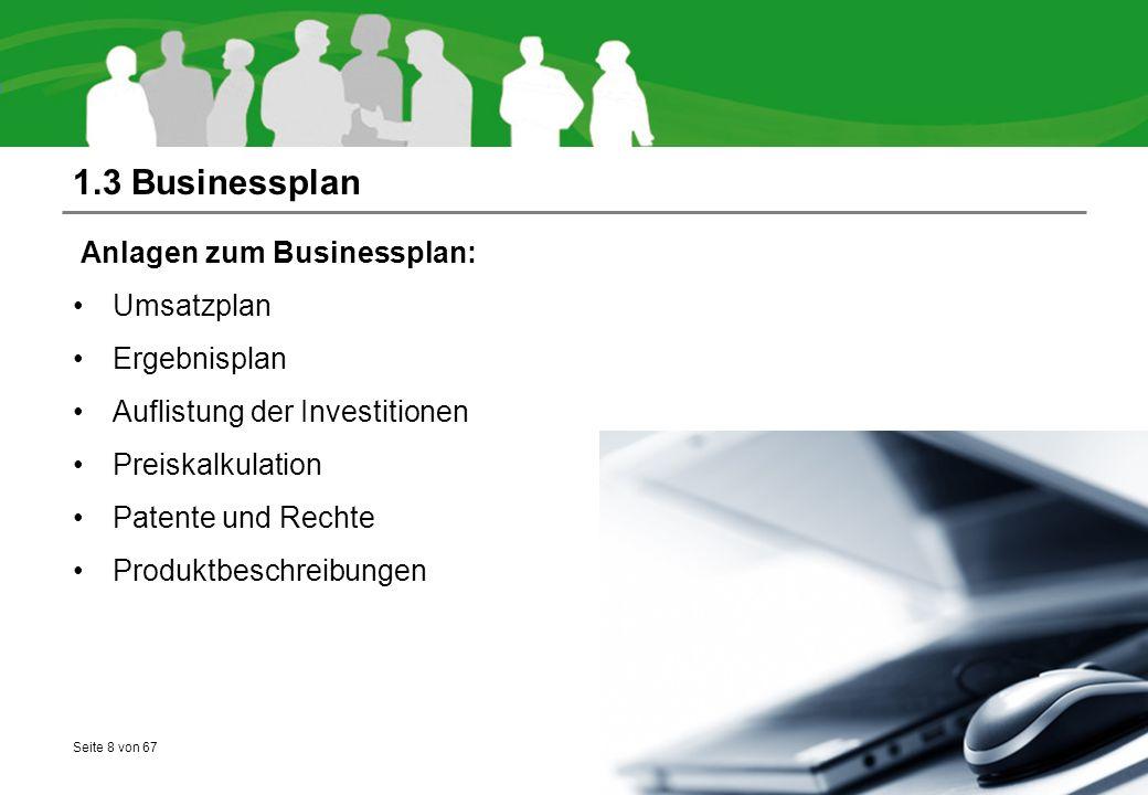 Seite 8 von 67 1.3 Businessplan Anlagen zum Businessplan: Umsatzplan Ergebnisplan Auflistung der Investitionen Preiskalkulation Patente und Rechte Produktbeschreibungen