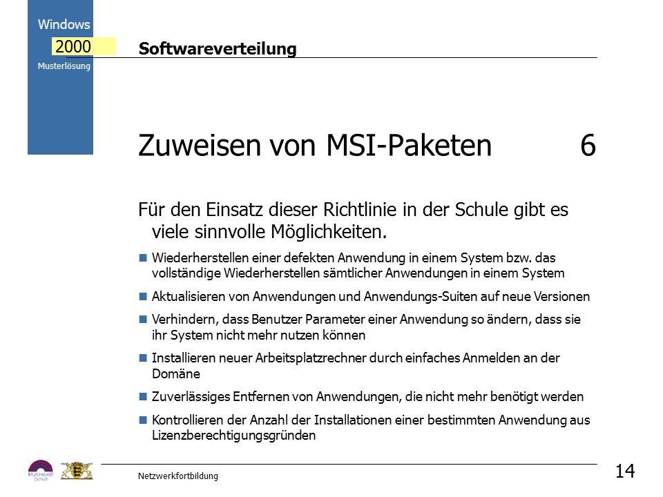 Softwareverteilung Windows 2000 Musterlösung Netzwerkfortbildung 14 Für den Einsatz dieser Richtlinie in der Schule gibt es viele sinnvolle Möglichkeiten.