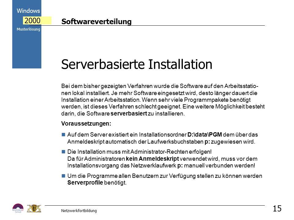 Softwareverteilung Windows 2000 Musterlösung Netzwerkfortbildung 15 Bei dem bisher gezeigten Verfahren wurde die Software auf den Arbeitsstatio- nen l
