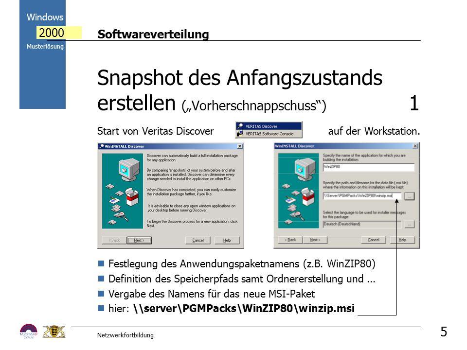 Softwareverteilung Windows 2000 Musterlösung Netzwerkfortbildung 5 Festlegung des Anwendungspaketnamens (z.B. WinZIP80) Definition des Speicherpfads s