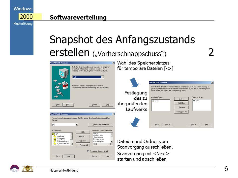 Softwareverteilung Windows 2000 Musterlösung Netzwerkfortbildung 6 Dateien und Ordner vom Scanvorgang ausschließen. Scanvorgang mit starten und abschl