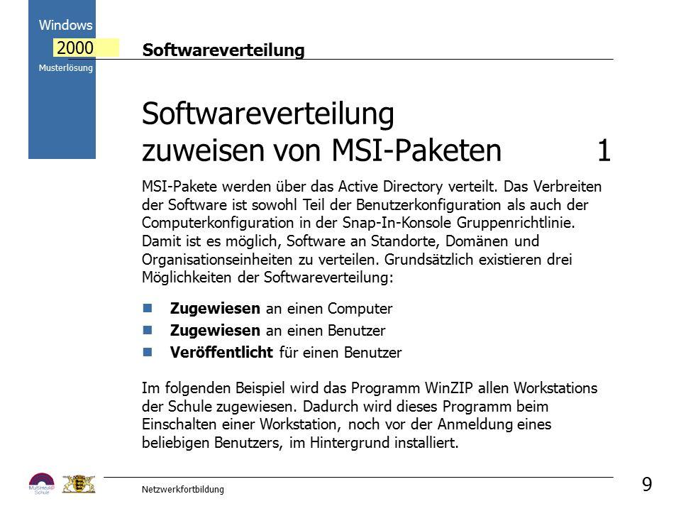 Softwareverteilung Windows 2000 Musterlösung Netzwerkfortbildung 9 Im folgenden Beispiel wird das Programm WinZIP allen Workstations der Schule zugewi