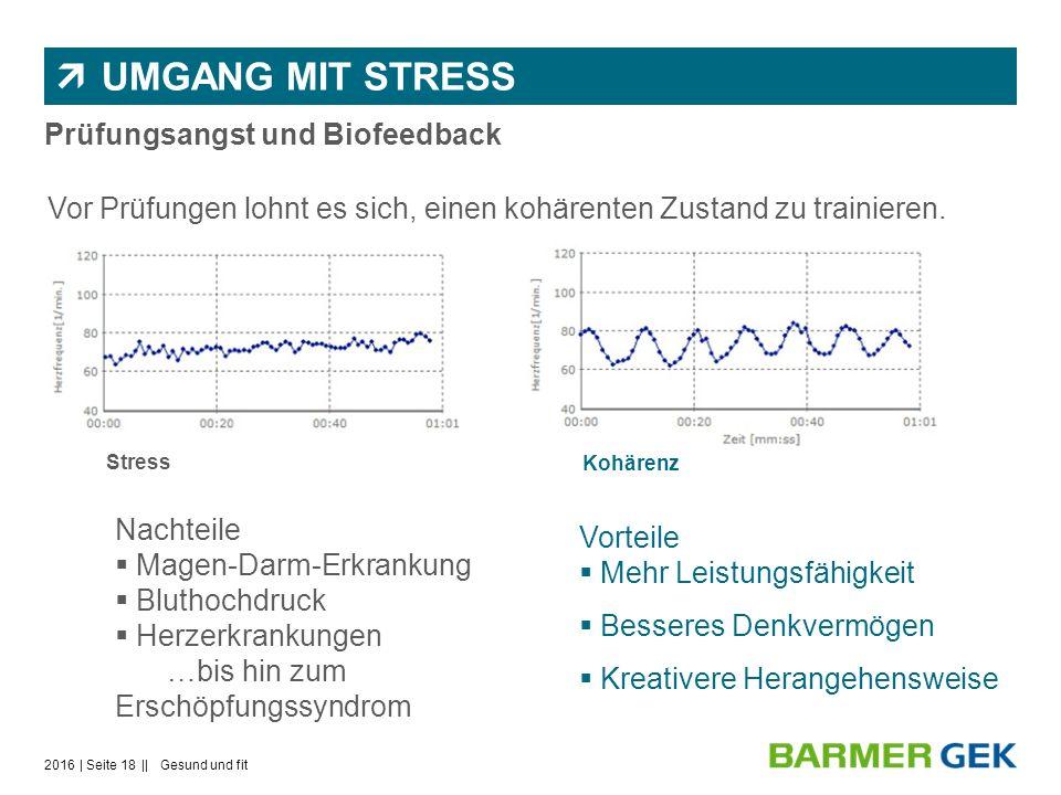  UMGANG MIT STRESS Vorteile  Mehr Leistungsfähigkeit  Besseres Denkvermögen  Kreativere Herangehensweise Prüfungsangst und Biofeedback Stress Kohärenz Vor Prüfungen lohnt es sich, einen kohärenten Zustand zu trainieren.
