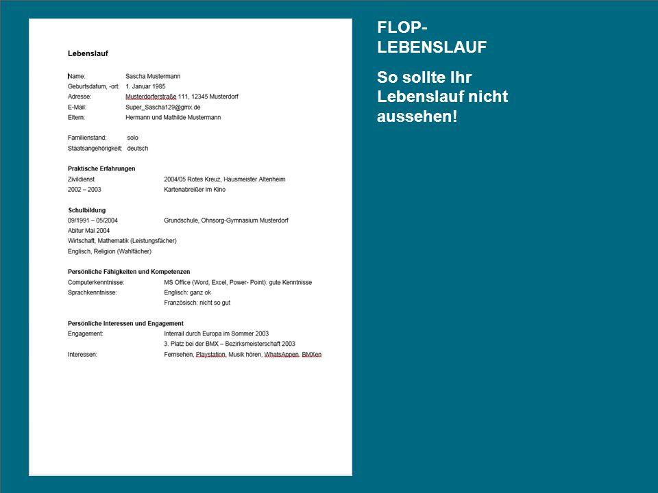 Interrail durch Europa FLOP- LEBENSLAUF So sollte Ihr Lebenslauf nicht aussehen!