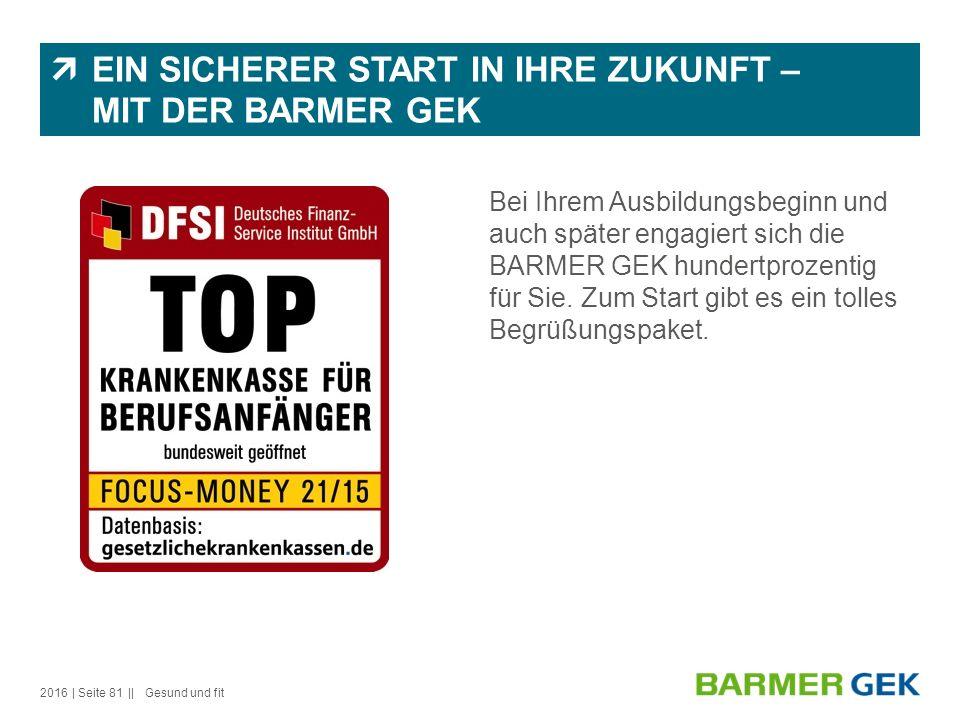  EIN SICHERER START IN IHRE ZUKUNFT – MIT DER BARMER GEK Bei Ihrem Ausbildungsbeginn und auch später engagiert sich die BARMER GEK hundertprozentig für Sie.