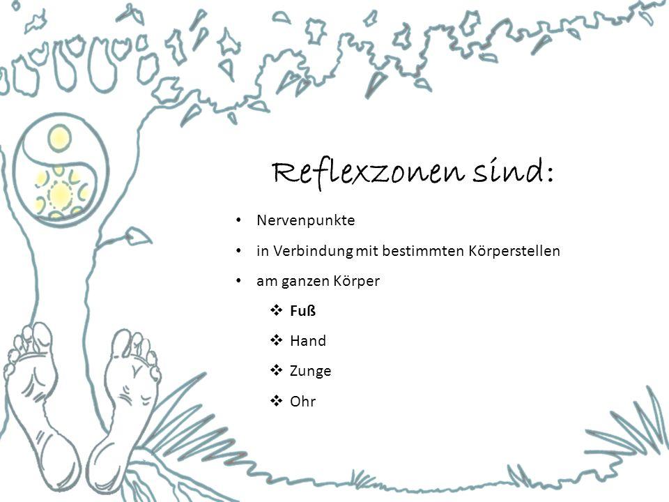 Reflexzonen sind: Nervenpunkte in Verbindung mit bestimmten Körperstellen am ganzen Körper  Fuß  Hand  Zunge  Ohr