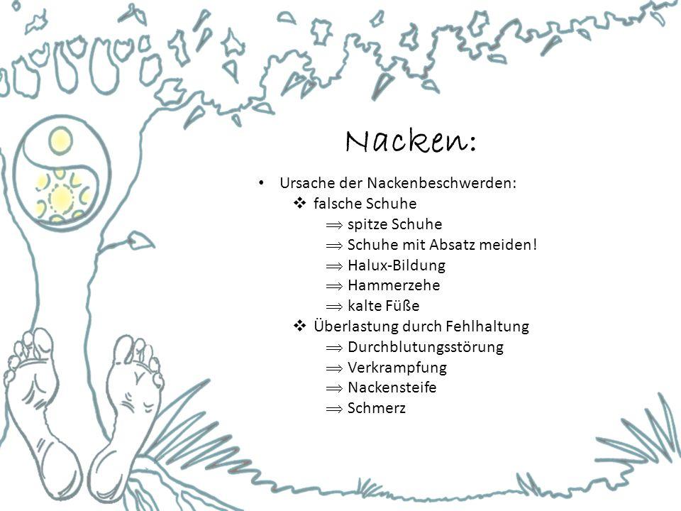 Nacken: Ursache der Nackenbeschwerden:  falsche Schuhe  spitze Schuhe  Schuhe mit Absatz meiden!  Halux-Bildung  Hammerzehe  kalte Füße  Überla