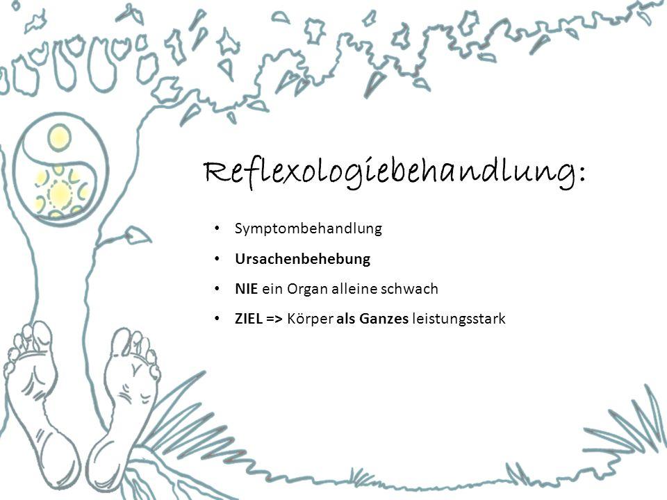 Reflexologiebehandlung: Symptombehandlung Ursachenbehebung NIE ein Organ alleine schwach ZIEL => Körper als Ganzes leistungsstark