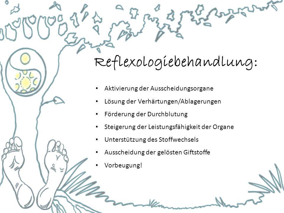 Reflexologiebehandlung: Aktivierung der Ausscheidungsorgane Lösung der Verhärtungen/Ablagerungen Förderung der Durchblutung Steigerung der Leistungsfähigkeit der Organe Unterstützung des Stoffwechsels Ausscheidung der gelösten Giftstoffe Vorbeugung!
