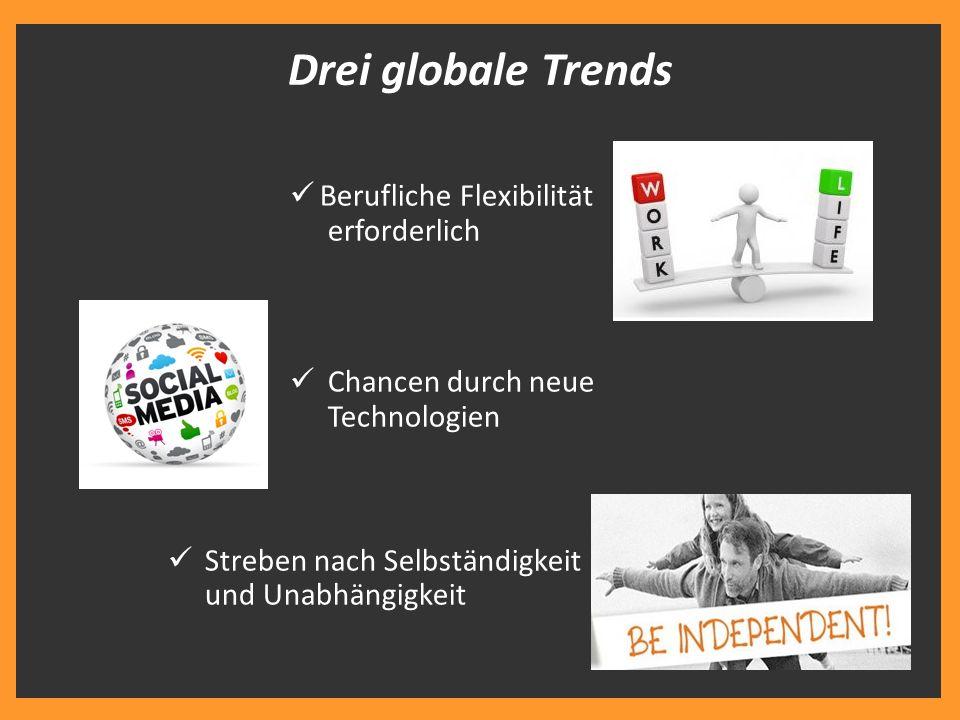 Berufliche Flexibilität erforderlich Chancen durch neue Technologien Streben nach Selbständigkeit und Unabhängigkeit Drei globale Trends