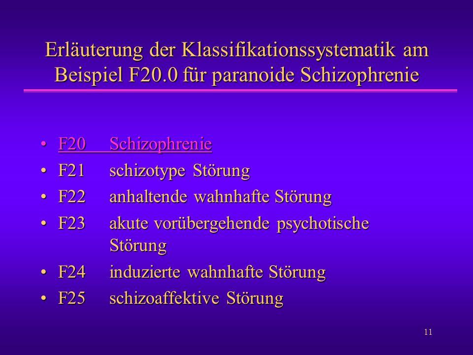 11 Erläuterung der Klassifikationssystematik am Beispiel F20.0 für paranoide Schizophrenie F20SchizophrenieF20SchizophrenieF20SchizophrenieF20Schizoph