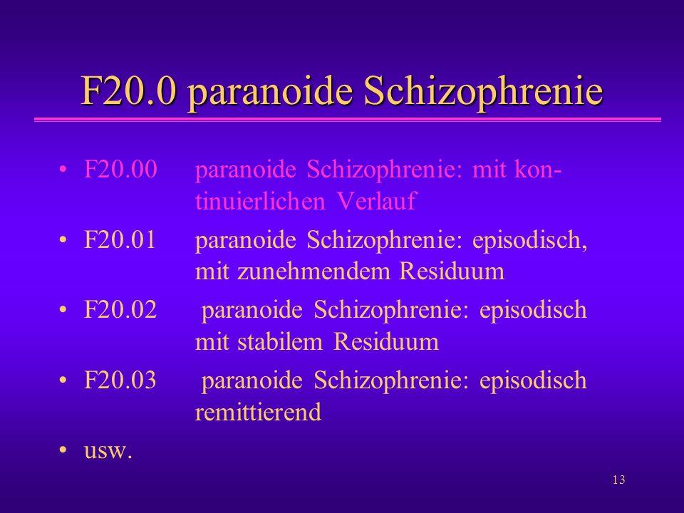 13 F20.0 paranoide Schizophrenie F20.00paranoide Schizophrenie: mit kon- tinuierlichen Verlauf F20.01paranoide Schizophrenie: episodisch, mit zunehmen