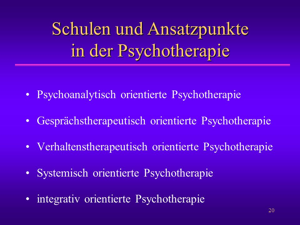 20 Schulen und Ansatzpunkte in der Psychotherapie Psychoanalytisch orientierte Psychotherapie Gesprächstherapeutisch orientierte Psychotherapie Verhal