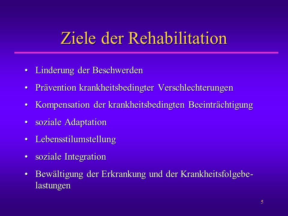 5 Ziele der Rehabilitation Linderung der BeschwerdenLinderung der Beschwerden Prävention krankheitsbedingter VerschlechterungenPrävention krankheitsbe