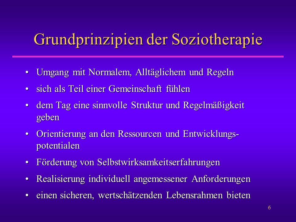 6 Grundprinzipien der Soziotherapie Umgang mit Normalem, Alltäglichem und RegelnUmgang mit Normalem, Alltäglichem und Regeln sich als Teil einer Gemei