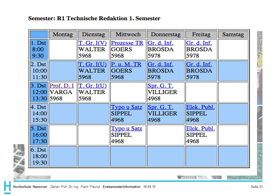 Hochschule Hannover Dekan Prof. Dr.-Ing. Frank Freund Erstsemesterinformation 18.09.15 Seite 31
