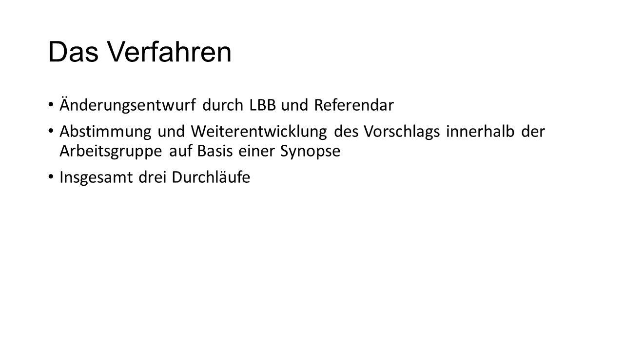 Das Verfahren Änderungsentwurf durch LBB und Referendar Abstimmung und Weiterentwicklung des Vorschlags innerhalb der Arbeitsgruppe auf Basis einer Synopse Insgesamt drei Durchläufe