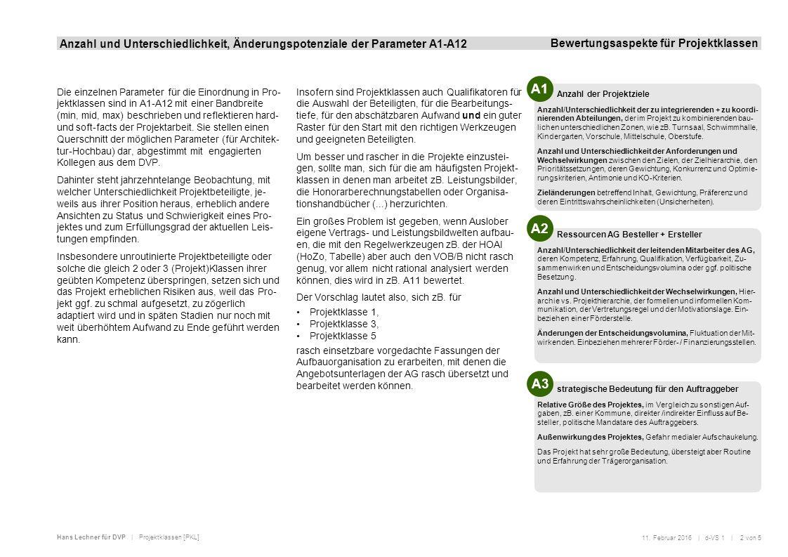 Hans Lechner für DVP | Projektklassen [PKL] Anzahl und Unterschiedlichkeit, Änderungspotenziale der Parameter A1-A12 Bewertungsaspekte für Projektklas