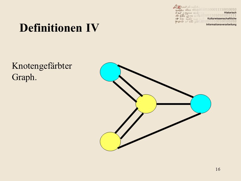 Definitionen IV Knotengefärbter Graph. 16