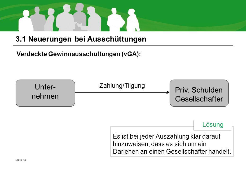 3.1 Neuerungen bei Ausschüttungen Verdeckte Gewinnausschüttungen (vGA): Seite 43 Es ist bei jeder Auszahlung klar darauf hinzuweisen, dass es sich um