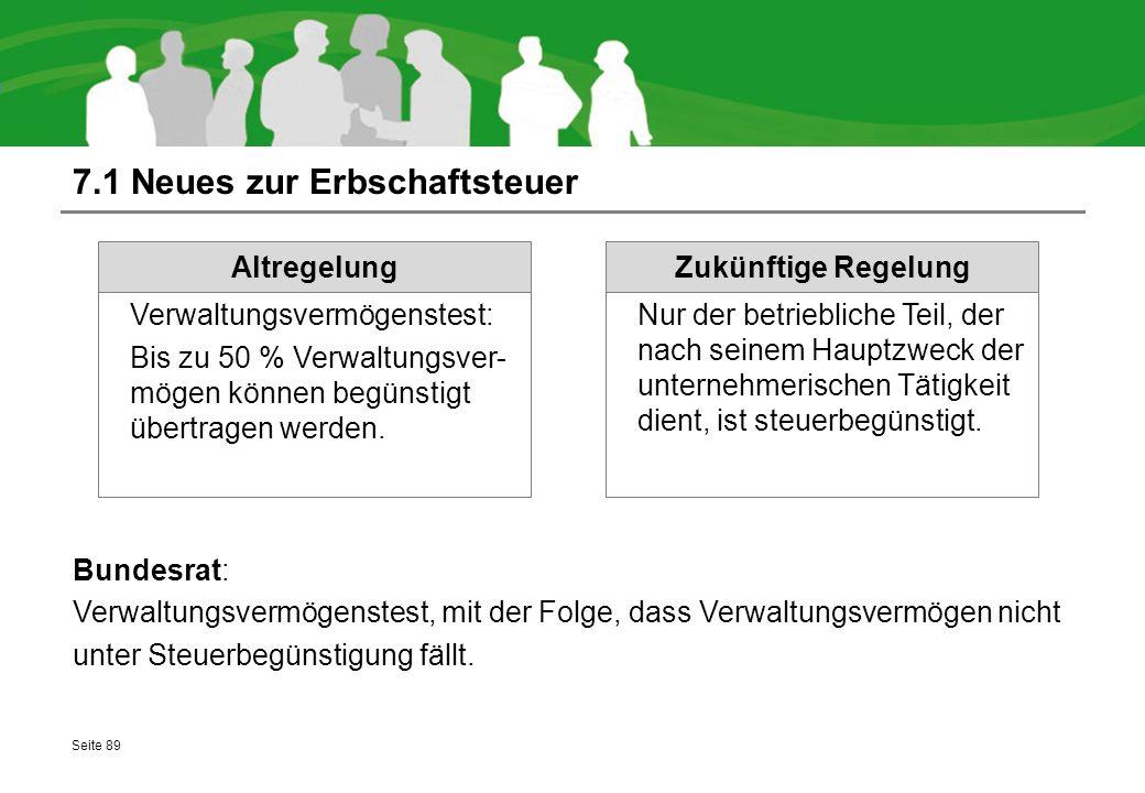 7.1 Neues zur Erbschaftsteuer Bundesrat: Verwaltungsvermögenstest, mit der Folge, dass Verwaltungsvermögen nicht unter Steuerbegünstigung fällt. Seite