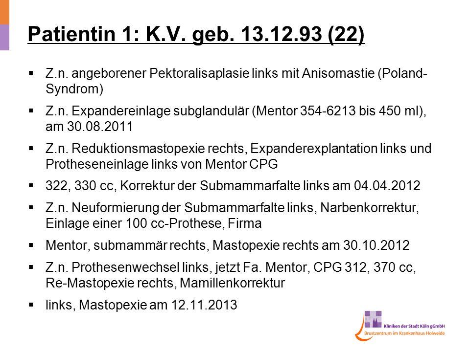 Patientin 1: K.V. geb. 13.12.93 (22)  Z.n. angeborener Pektoralisaplasie links mit Anisomastie (Poland- Syndrom)  Z.n. Expandereinlage subglandulär