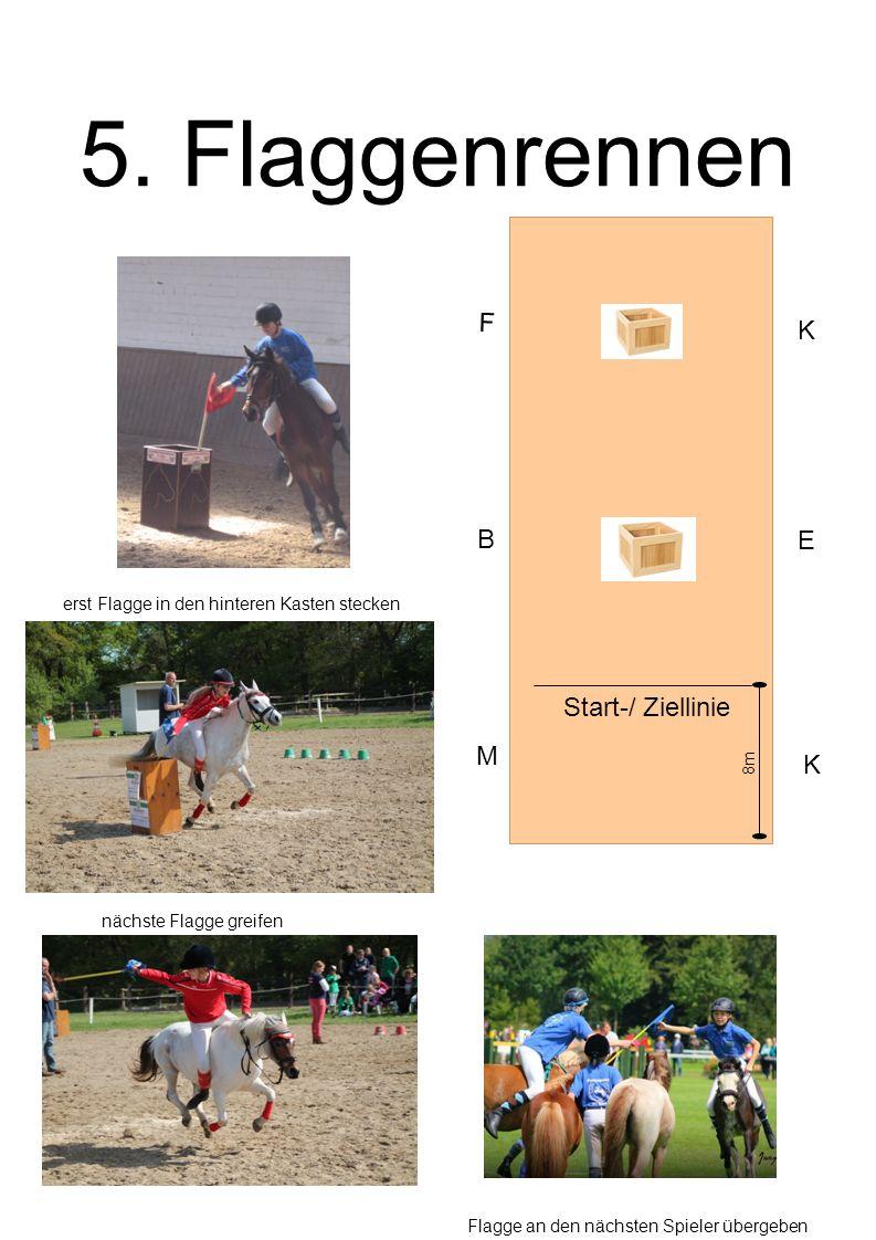 5. Flaggenrennen B E F K Start-/ Ziellinie erst Flagge in den hinteren Kasten stecken Flagge an den nächsten Spieler übergeben nächste Flagge greifen