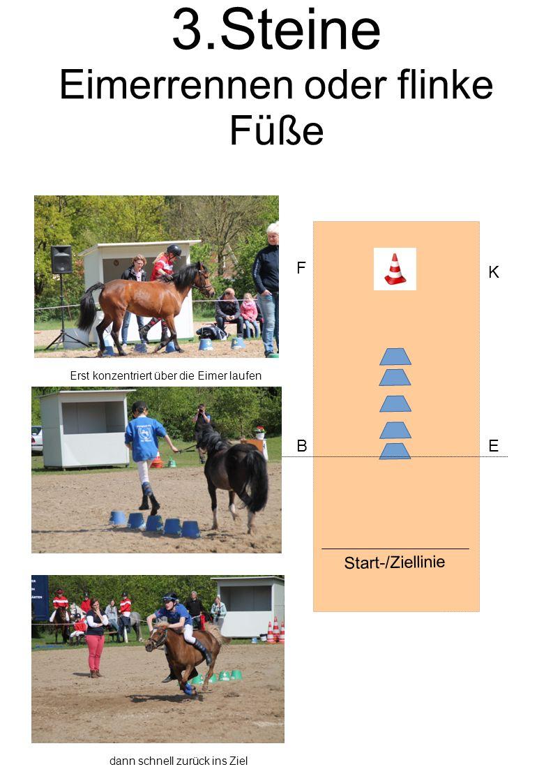 3.Steine Eimerrennen oder flinke Füße Start-/Ziellinie BE F K Erst konzentriert über die Eimer laufen dann schnell zurück ins Ziel