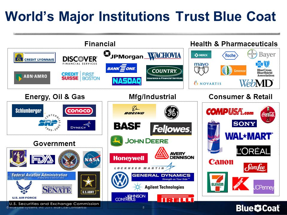 8 © Blue Coat Systems, Inc. 2011. Blue Coat Confidential Energy, Oil & Gas Health & Pharmaceuticals Government World's Major Institutions Trust Blue C