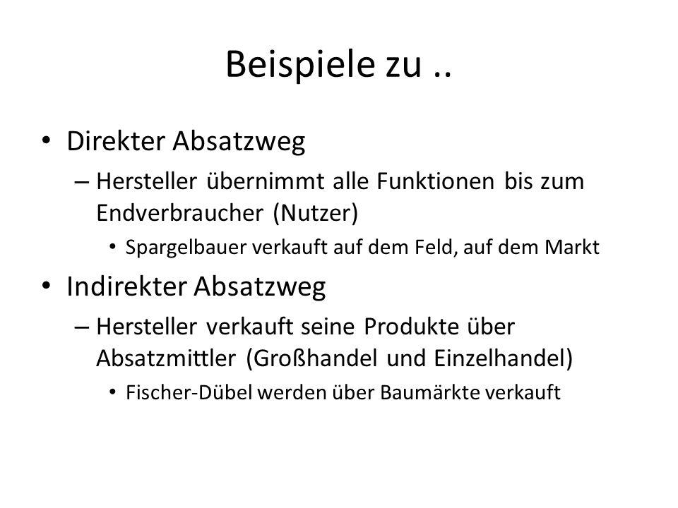 Beispiele zu.. Direkter Absatzweg – Hersteller übernimmt alle Funktionen bis zum Endverbraucher (Nutzer) Spargelbauer verkauft auf dem Feld, auf dem M