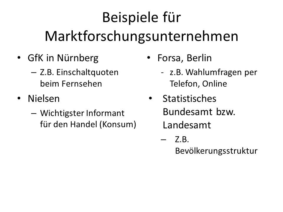 Beispiele für Marktforschungsunternehmen GfK in Nürnberg – Z.B. Einschaltquoten beim Fernsehen Nielsen – Wichtigster Informant für den Handel (Konsum)