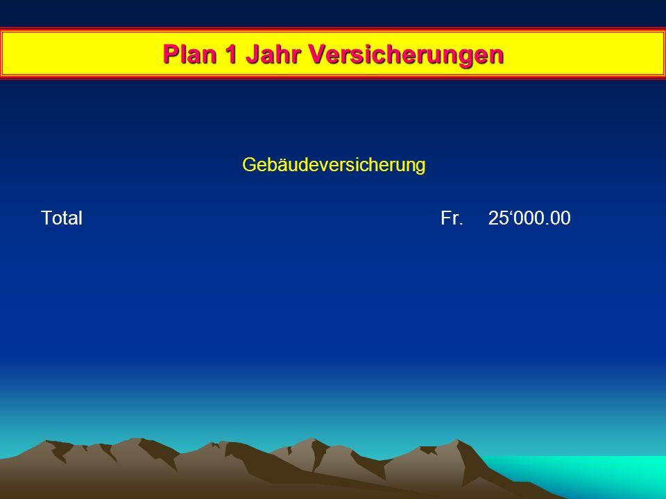 Plan 1 Jahr Invest. + Zinsen + Amortisation Gebäudekauf Anzahlung Fr.
