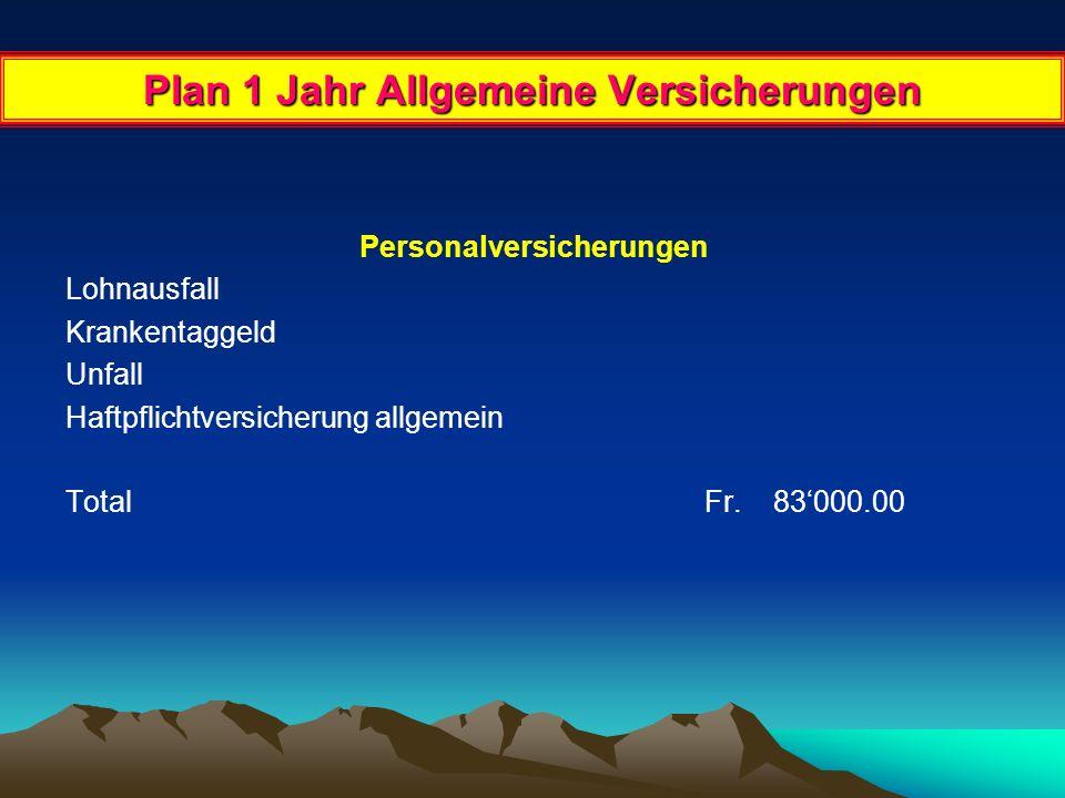 Plan 1 Jahr Versicherungen Gebäudeversicherung Total Fr. 25'000.00