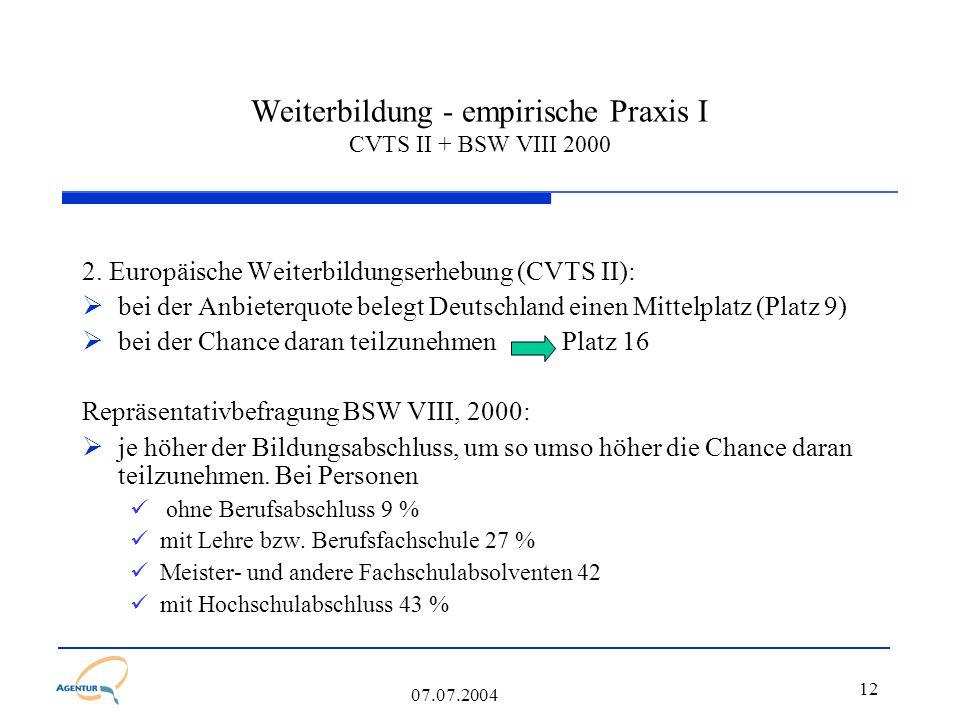 12 07.07.2004 Weiterbildung - empirische Praxis I CVTS II + BSW VIII 2000 2. Europäische Weiterbildungserhebung (CVTS II):  bei der Anbieterquote bel