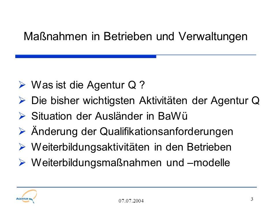 3 Maßnahmen in Betrieben und Verwaltungen  Was ist die Agentur Q ?  Die bisher wichtigsten Aktivitäten der Agentur Q  Situation der Ausländer in Ba