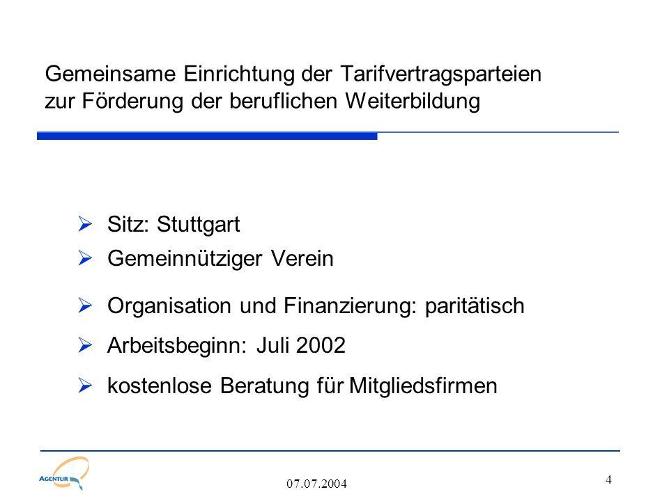 4 07.07.2004 Gemeinsame Einrichtung der Tarifvertragsparteien zur Förderung der beruflichen Weiterbildung  Sitz: Stuttgart  Gemeinnütziger Verein 