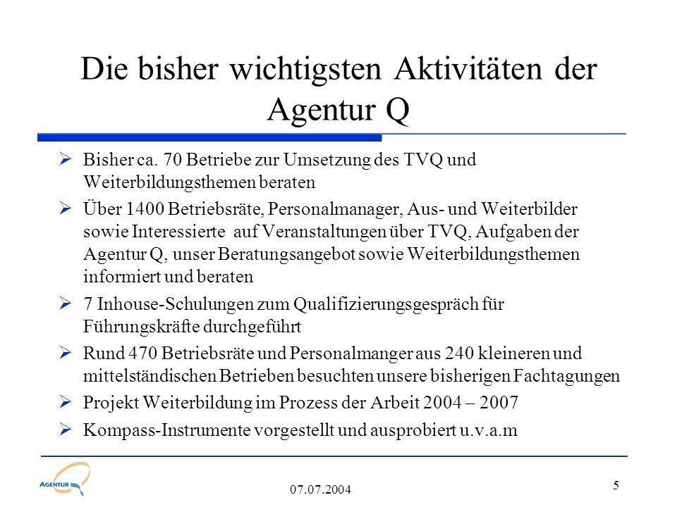5 07.07.2004 Die bisher wichtigsten Aktivitäten der Agentur Q  Bisher ca. 70 Betriebe zur Umsetzung des TVQ und Weiterbildungsthemen beraten  Über 1